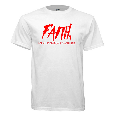 FAITH. White Shirt- Red