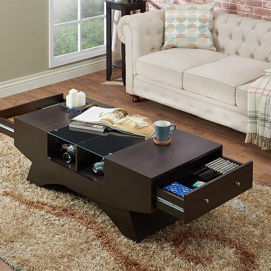 Tea Table with drawer Dark Brown