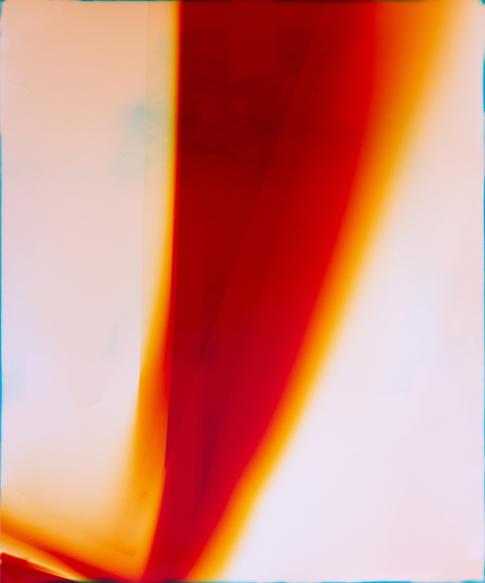 Light Bleeds: The Bauhaus - door (1). Unique colour photogram on lustre paper. 51 x 61cm. Produced in collaboration with Caitlin Tomlinson. 2019.