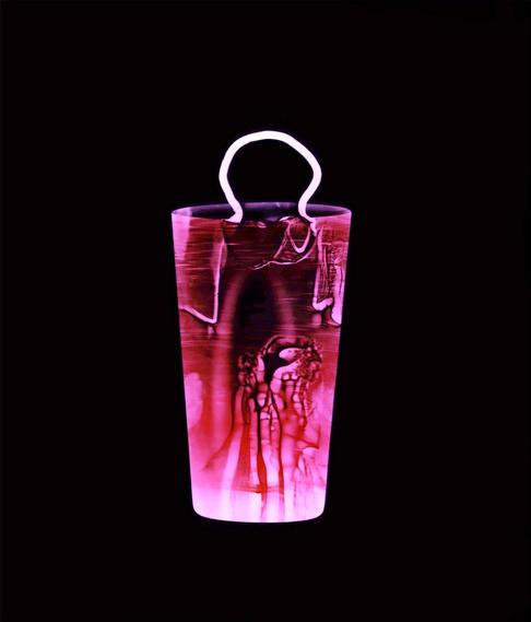 """Entrance (Black). Colour photogram of lipped glass spilling liquid. Unique colour photogram on lustre paper10""""x12"""". 2020"""