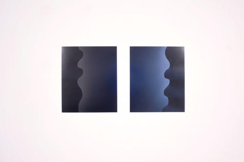 """Light Bleeds: The Bauhaus - curtains (1) and (4) (2019). From an ongoing series.10 x 12"""". Produced in collaboration with Caitlin Tomlinson"""