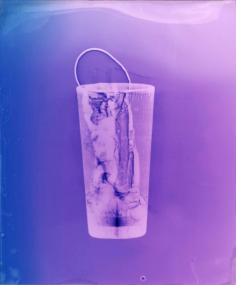 """Entrance (2020). Colour photogram of liquid and lipped glass.11"""" x 13"""". 2020"""