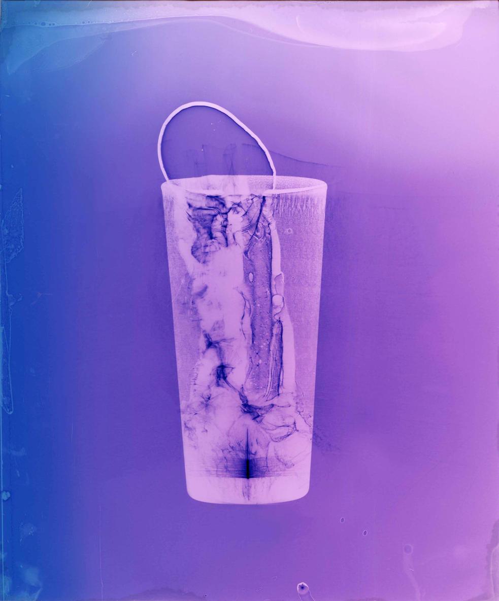"""Entrance (Purple). Colour photogram of liquid and lipped glass.Unique colour photogram on lustre paper. 10""""x12"""". 2020"""