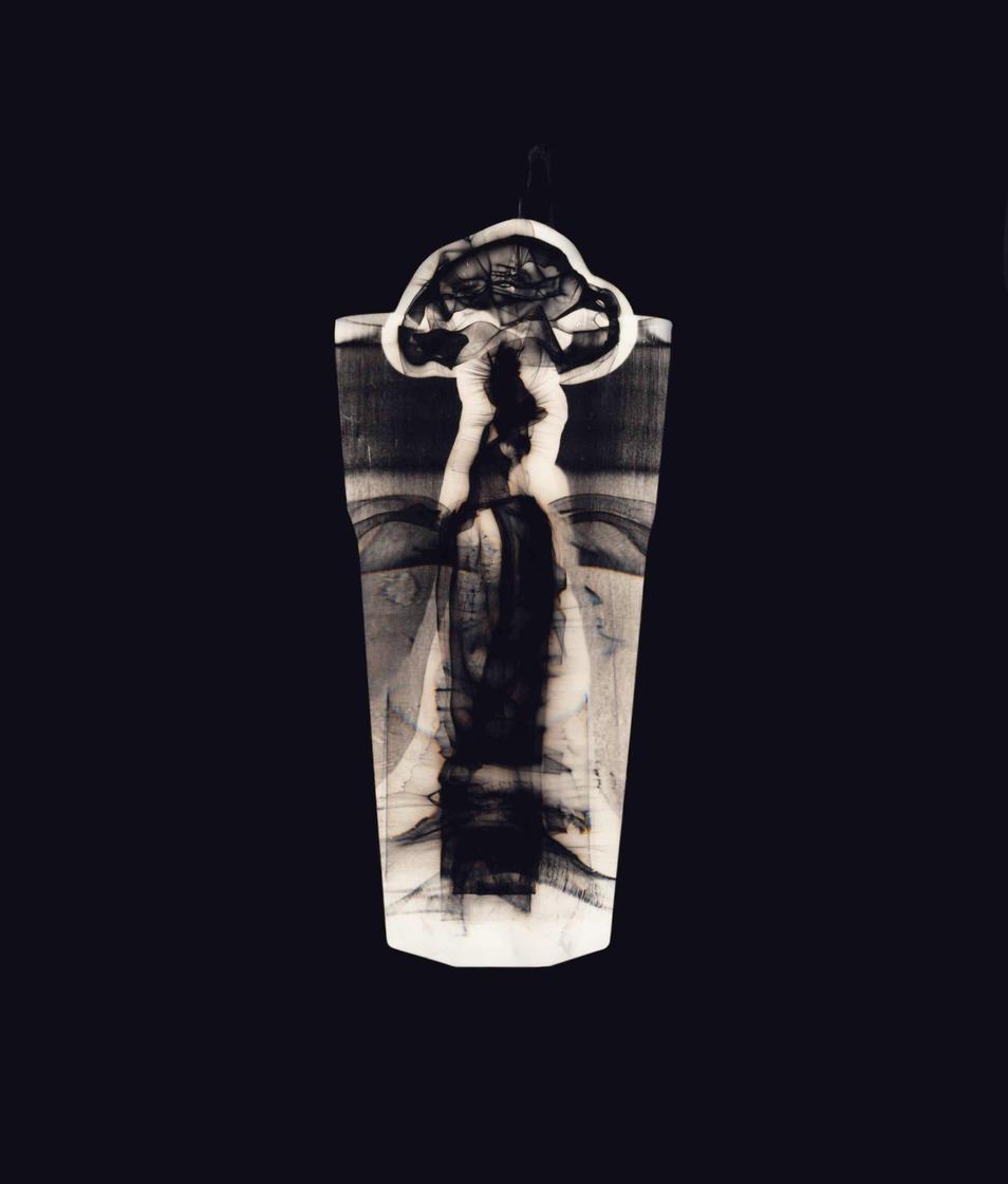 """Entrance (Black). Colour photogram of lipped glass spilling liquid.Unique colour photogram on lustre paper10""""x12"""". 2020"""