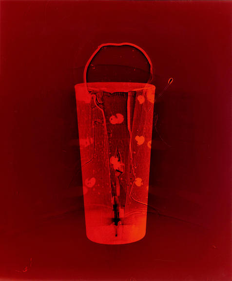 """Entrance (Red). Colour photogram of lipped glass spilling liquid.10"""" x 12"""". 2020"""