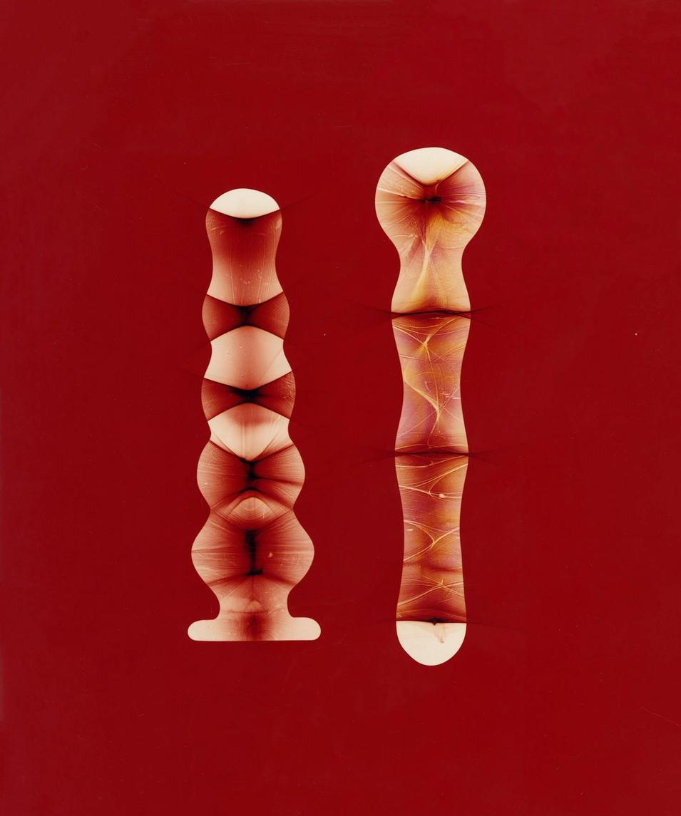 "Two (Red/Yellow). Unique colour photogram on lustre paper.10""x12"". 2020."