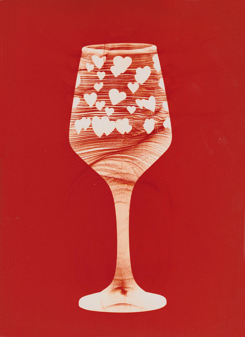 "Celebratory Glass with Hearts. Unique colour photogram on lustre paper. 9""x12"". 2020"