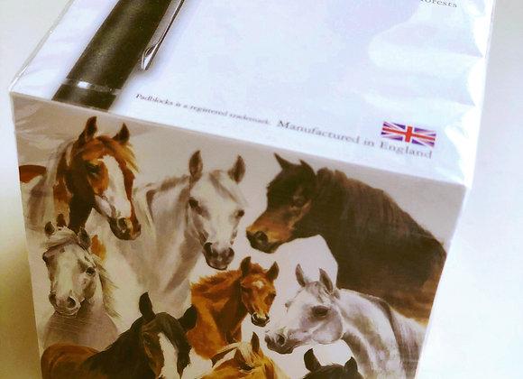 """Horses"" Desk Pad block with pen holder"