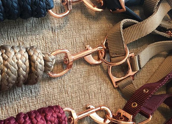 Sheldon Rose Gold Headcollar & MatchingLead Rope - Set
