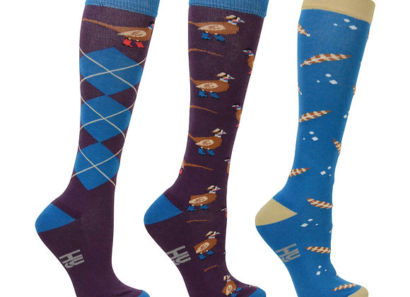 Hy Equestrian Patrick Pheasant Rider Socks Adult 4-8