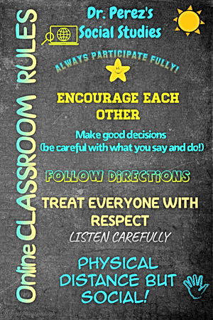 Online Classroom Chalkboard Rules Printa
