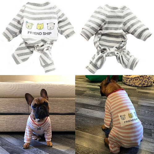 Striped Dog Jumpsuit Coat Knitted Coat Pet Apparel
