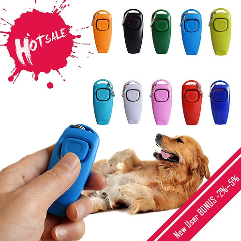2 in 1 Cute Shape Dog Whistle Clicker Pet Dog Trainer Aid Guide With Key Ring