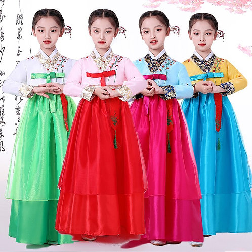 Children Korean Traditional Costume Girls Ethnic Hanbok Dress