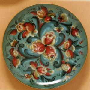 Decorator  Plates - Blue Rosemaling