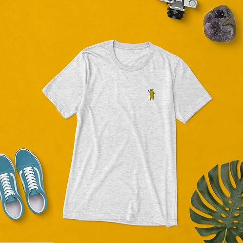 Aufgestickter Bär   Unisex, Weiß, U-Ausschnitt, T-Shirt
