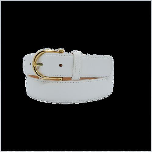 Ladie - Cuir véritable - Boucle Dorée - Blanche