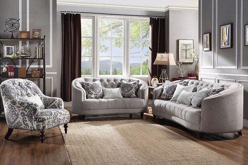 Saira Light Gray Fabric Sofa & Loveseat