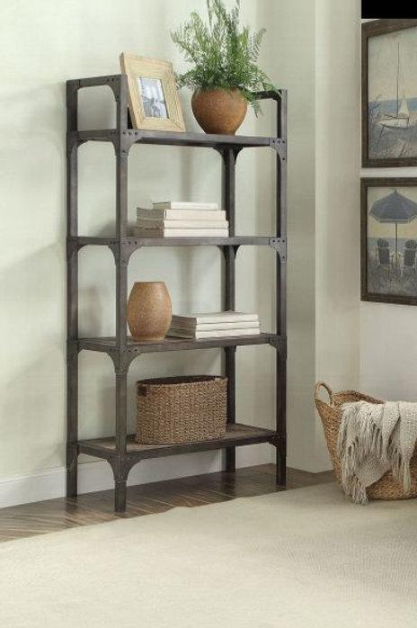 Gorden Weathered Oak & Antique Silver Bookshel