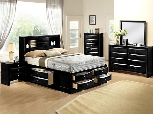 Emily Bookcase Storage Bedroom Set King