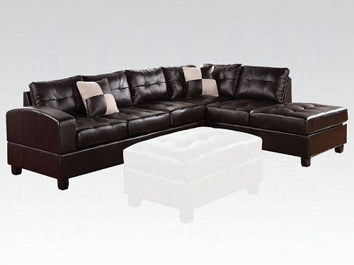 Kiva Black Bonded Leather Sectional