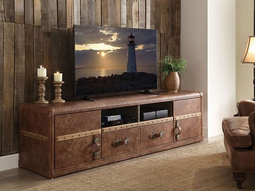 Aberdeen Retro Brown Top Grain Leather TV Stand