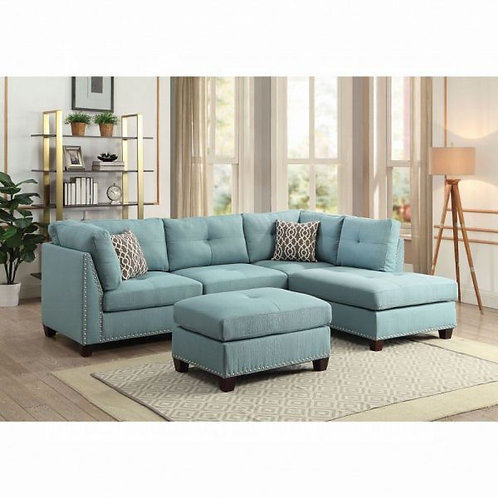 Laurissa Light Teal Linen Sectional