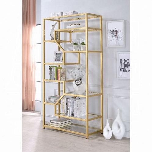 Lecanga Clear Glass & Gold Bookshelf