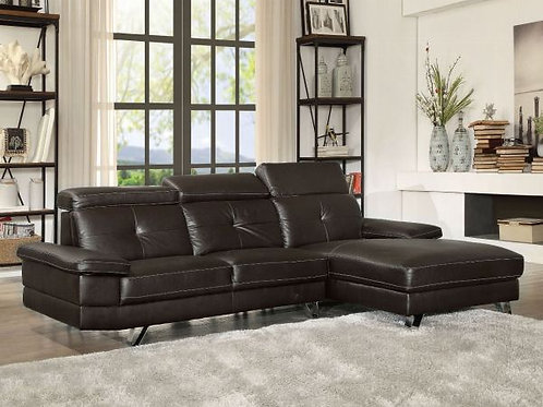 Aeryn Black PU Sectional