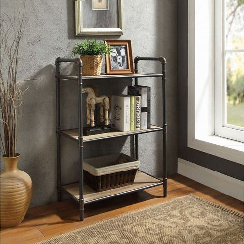 Itzel Antique Oak & Sandy Gray Bookshelf