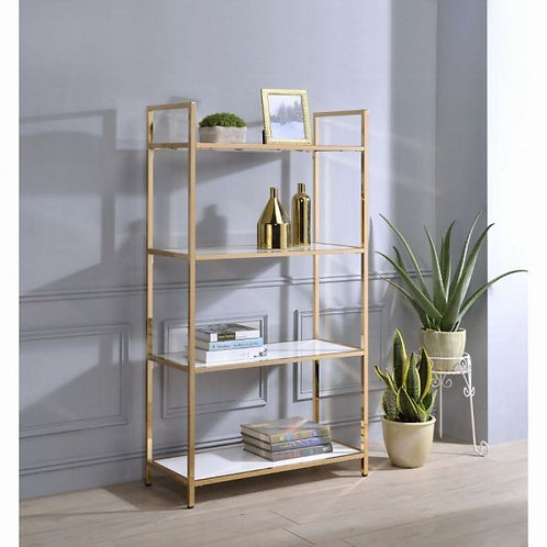 Ottey White High Gloss & Gold Bookshelf