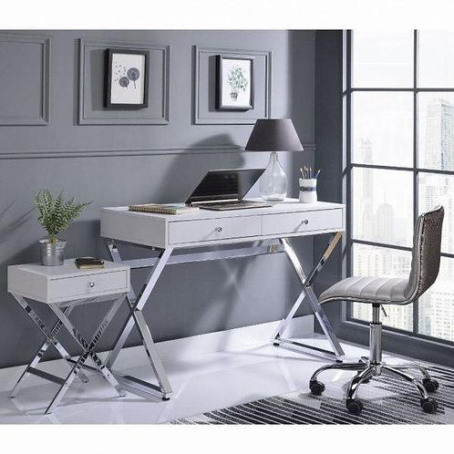 Coleen White & Chrome Desk