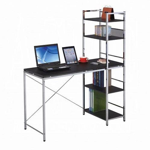 Elvis Black & Chrome Computer Desk w/Shelves