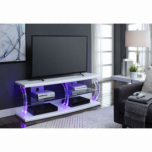 Aileen White & Clear Glass LED TV Stand