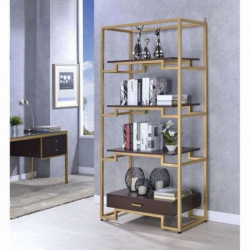 Yumia Gold & Clear Glass Bookshelf