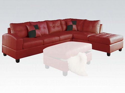 Kiva Red Bonded Leather Sectional
