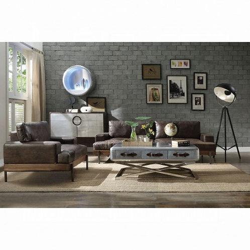 Silchester Oak & Distress Chocolate Top Grain Leather Sofa