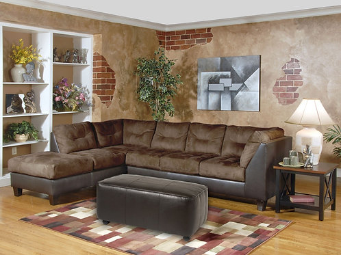 Padded Walnut Sectional