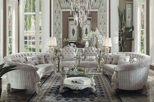 Versailles Ivory Velvet & Bone White Sofa