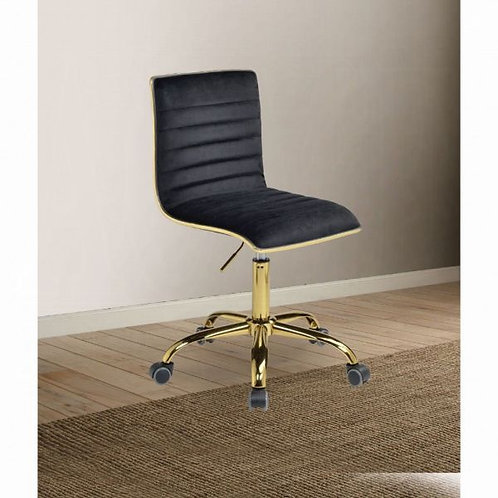 Alessio Black Velvet & Gold Office Chair