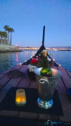 gondola w candle & wine