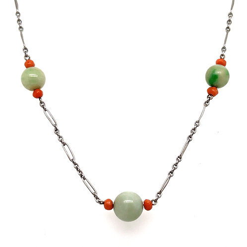 Jade and Coral Necklace 9ct White Gold