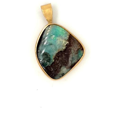 Bespoke Boulder Opal Pendant 18ct Gold