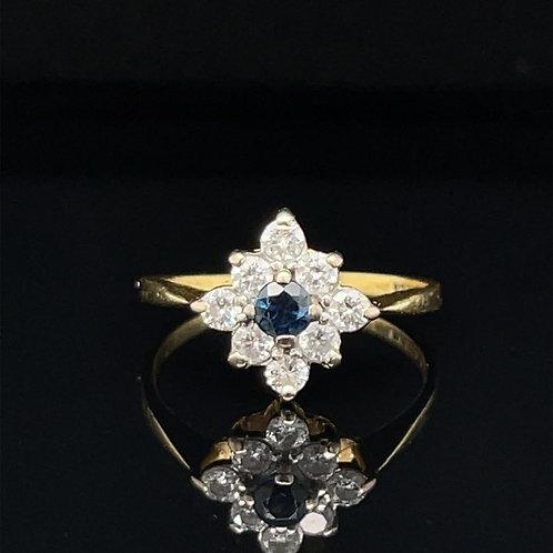 Sapphire & Diamond Cluster Ring 18ct Gold
