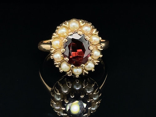 Garnet and Pearl Cluster Ring 9ct Gold