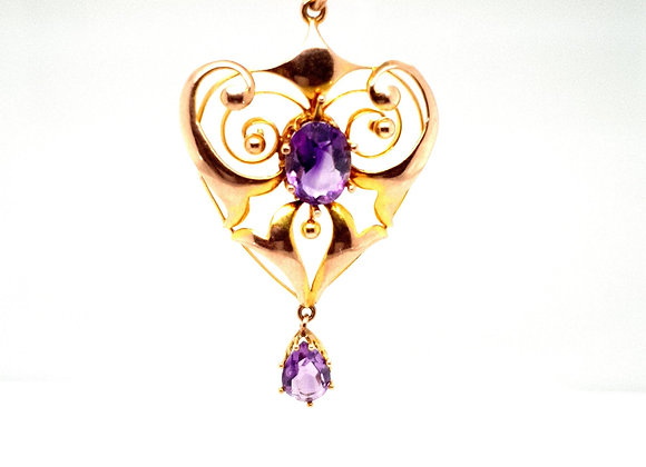 Amethyst Lavalier & 9ct Yellow Gold Necklace
