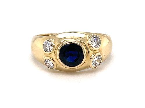 Rare & unusual 14 Ct Sapphire & Diamond Statement Ring Size R US 8.5