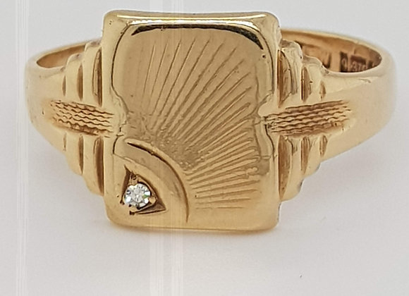 Gentlemans Fancy Signet Ring with Diamond Detail 9ct Yellow Gold