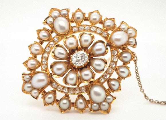 Victorian Diamond & Pearl Brooch 18ct Gold
