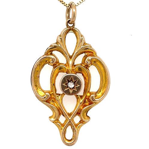 Edwardian Diamond Pendant 9ct Yellow Gold